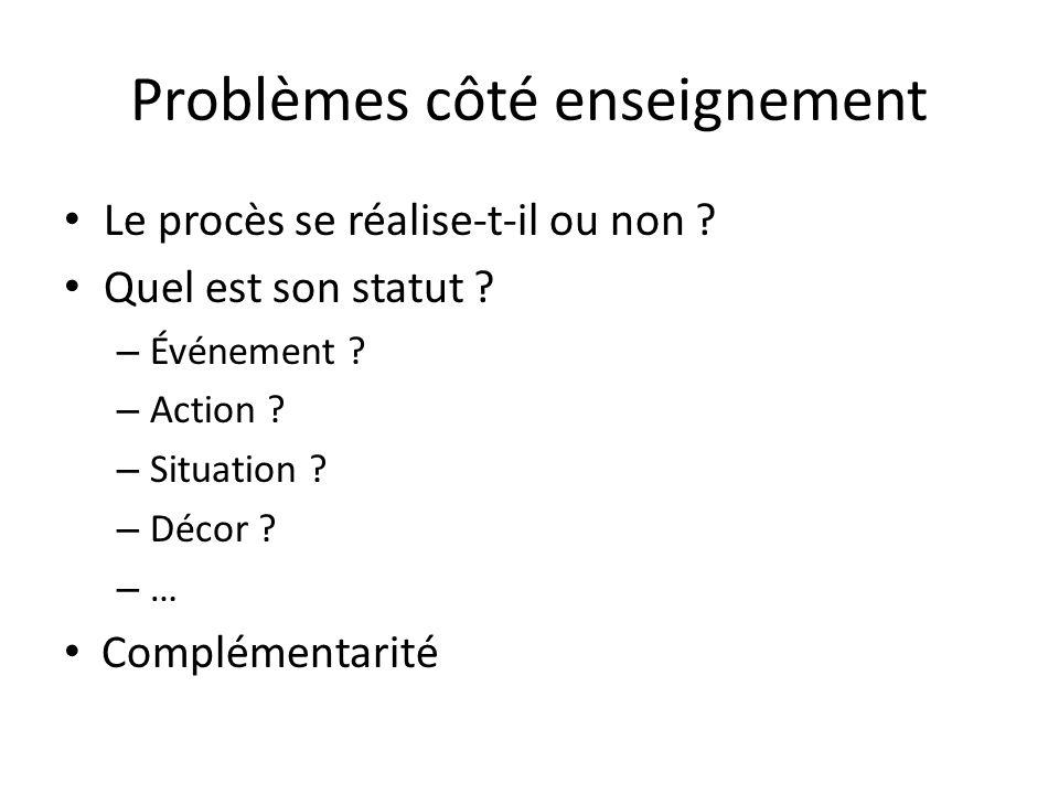 Problèmes côté enseignement