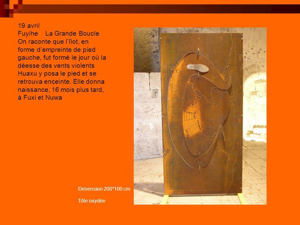 19 avril Fuyihe La Grande Boucle On raconte que l'îlot, en forme d'empreinte de pied gauche, fut formé le jour où la déesse des vents violents Huaxu y posa le pied et se retrouva enceinte. Elle donna naissance, 16 mois plus tard, à Fuxi et Nuwa