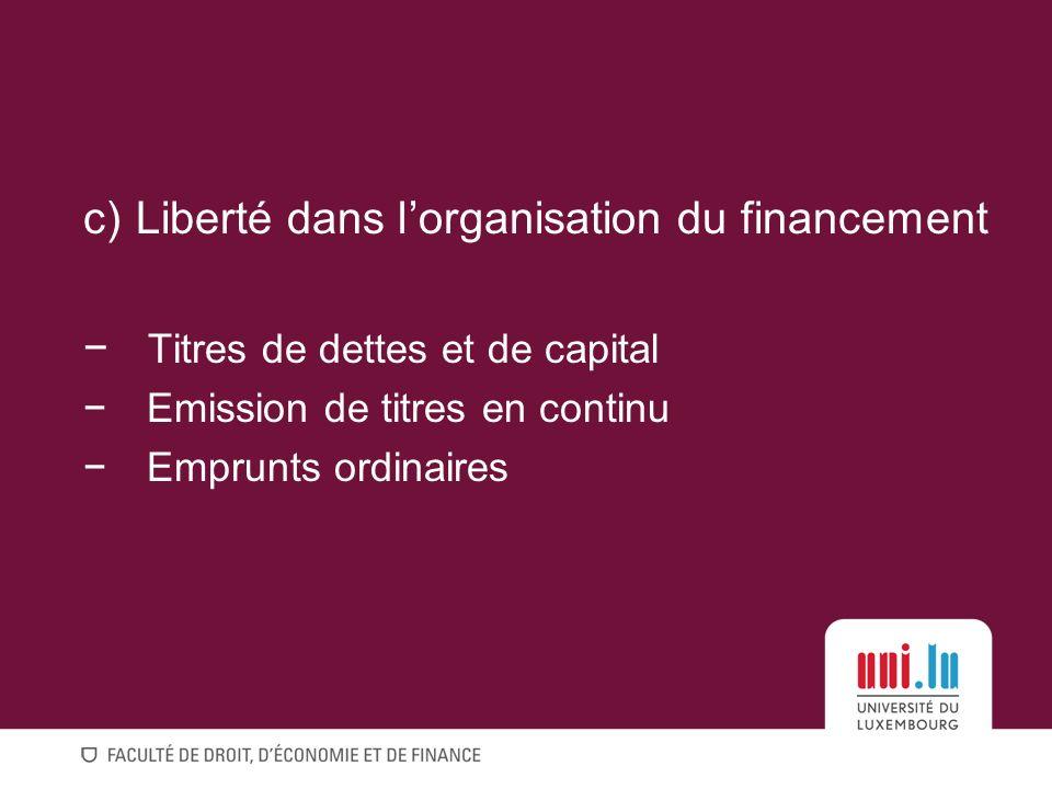 Liberté dans l'organisation du financement