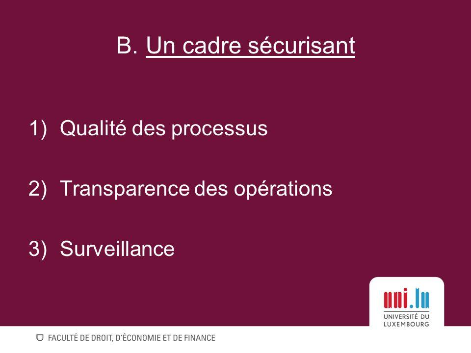 B. Un cadre sécurisant Qualité des processus