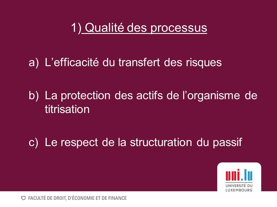 1) Qualité des processus