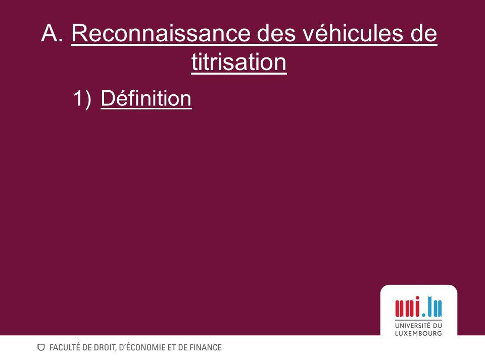 A. Reconnaissance des véhicules de titrisation
