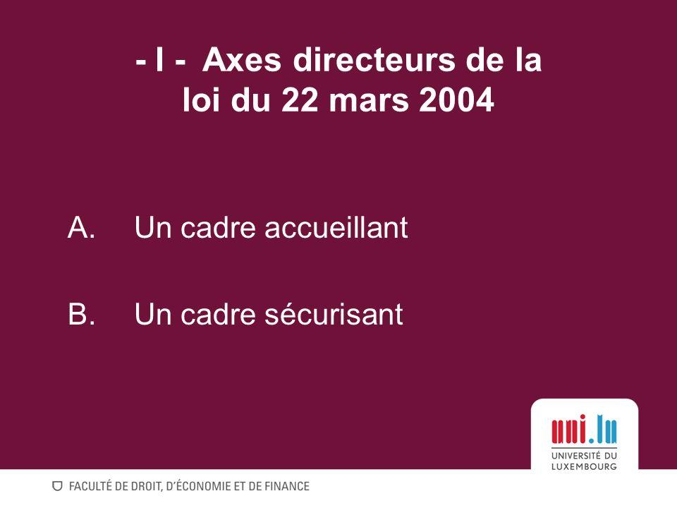 - I - Axes directeurs de la loi du 22 mars 2004