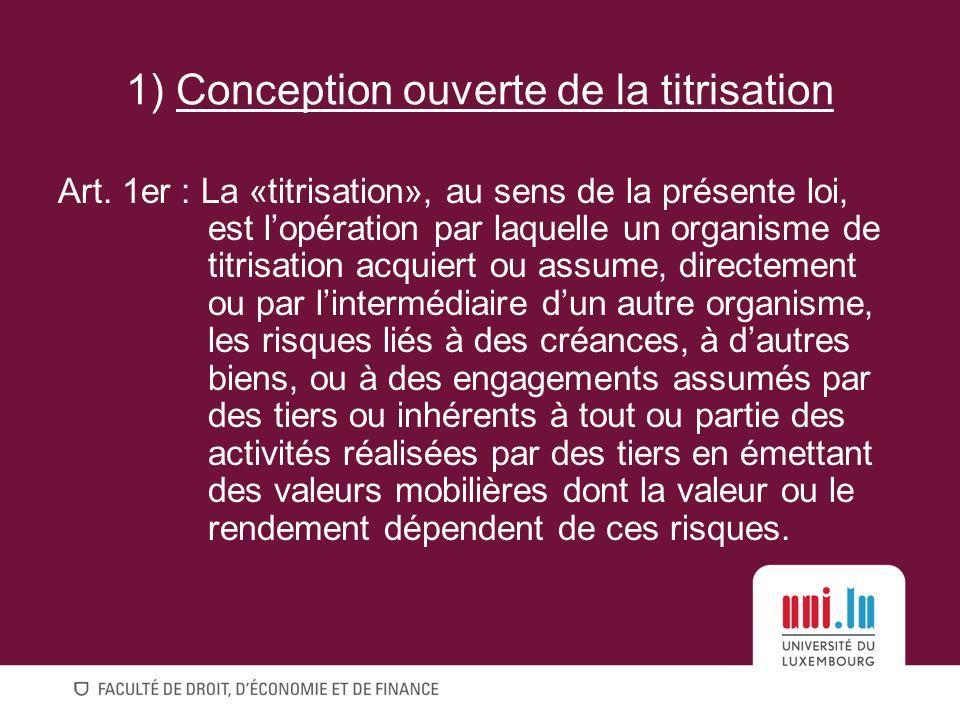 1) Conception ouverte de la titrisation