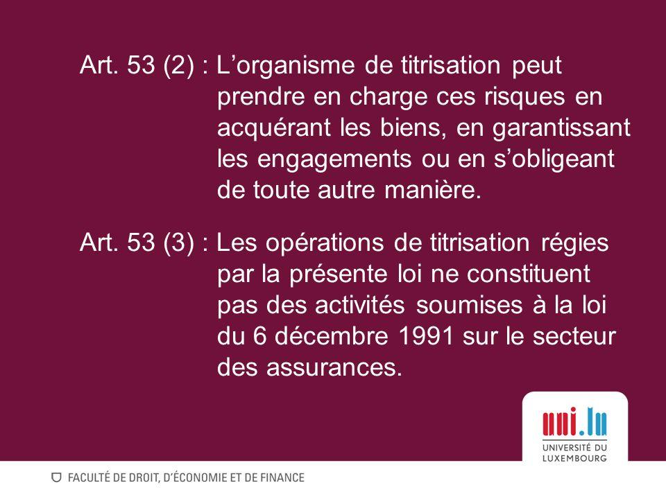Art. 53 (2) : L'organisme de titrisation peut