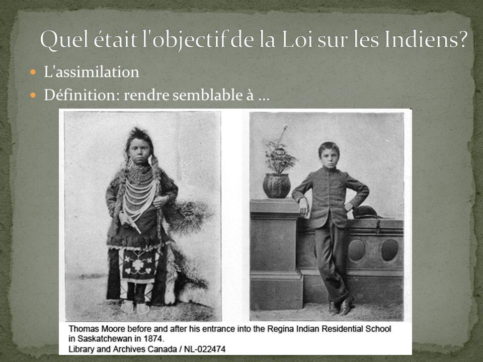Quel était l objectif de la Loi sur les Indiens