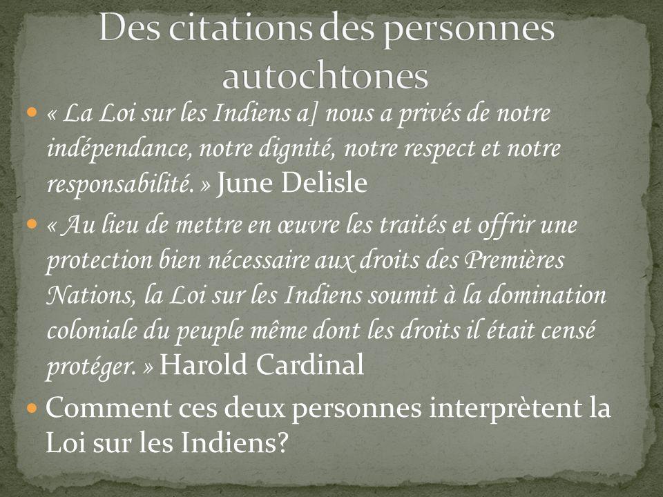 Des citations des personnes autochtones