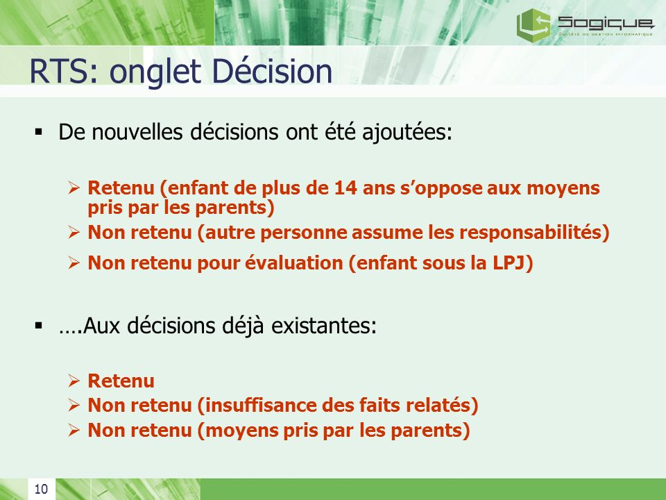RTS: onglet Décision De nouvelles décisions ont été ajoutées: