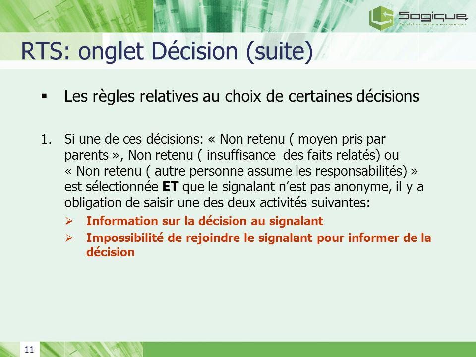 RTS: onglet Décision (suite)
