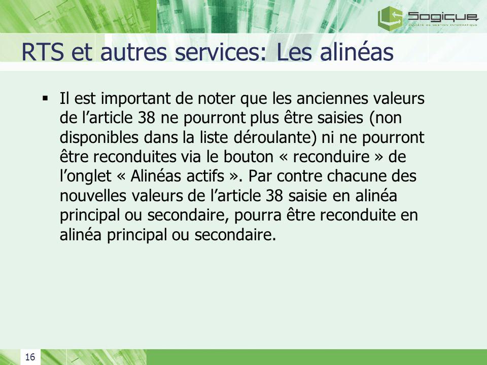 RTS et autres services: Les alinéas