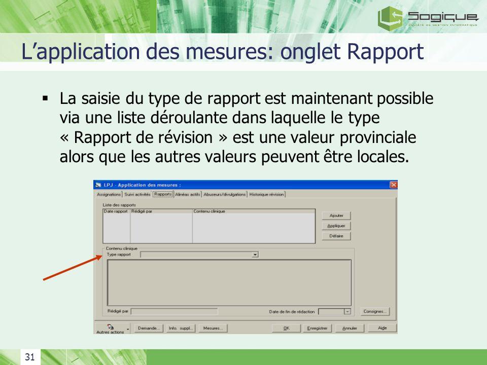 L'application des mesures: onglet Rapport