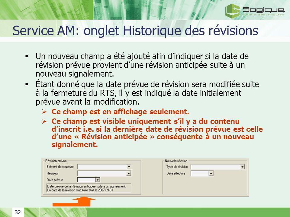Service AM: onglet Historique des révisions