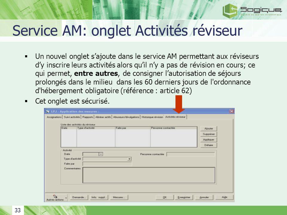 Service AM: onglet Activités réviseur