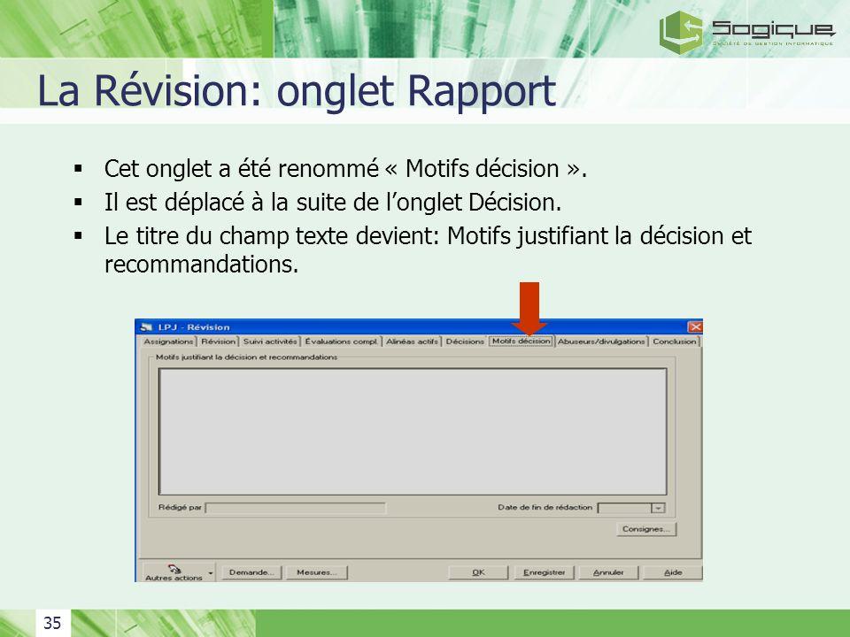 La Révision: onglet Rapport