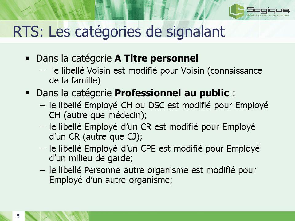 RTS: Les catégories de signalant