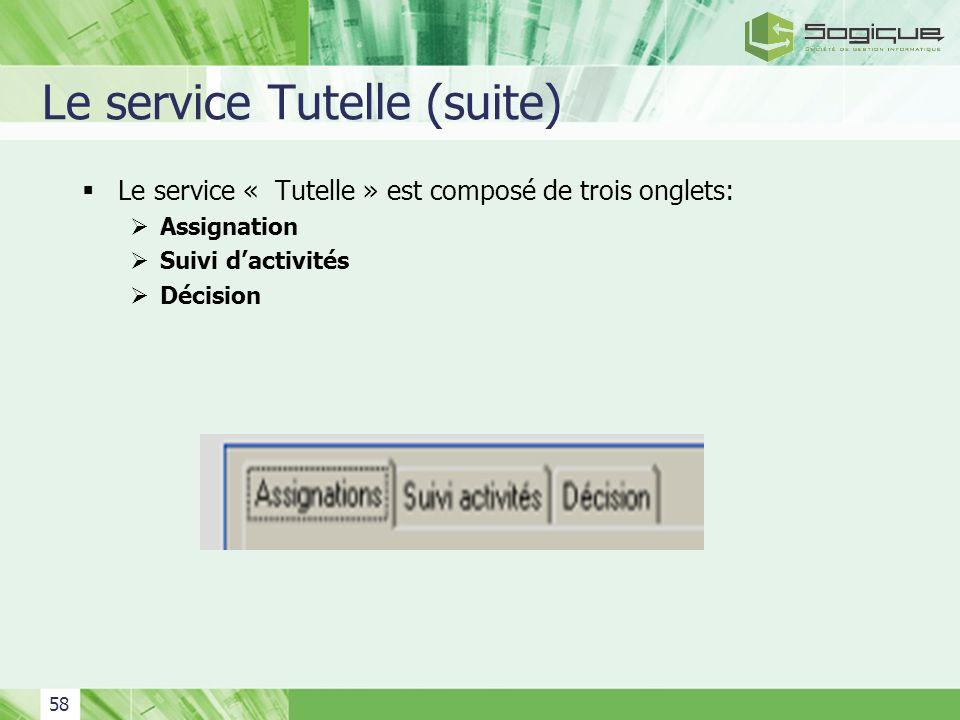 Le service Tutelle (suite)