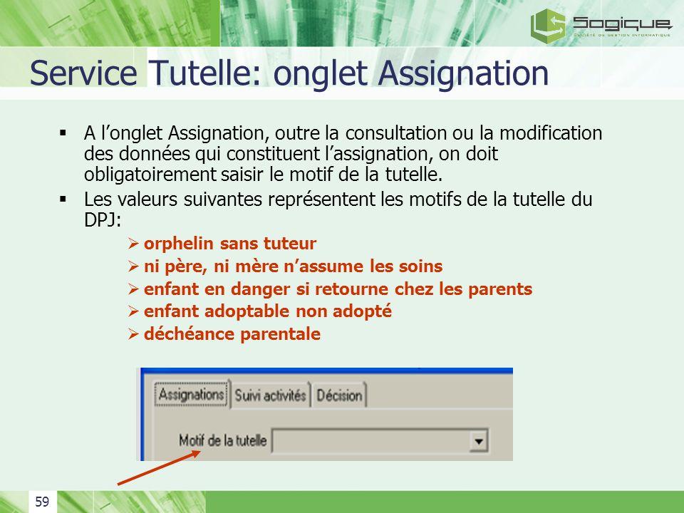 Service Tutelle: onglet Assignation