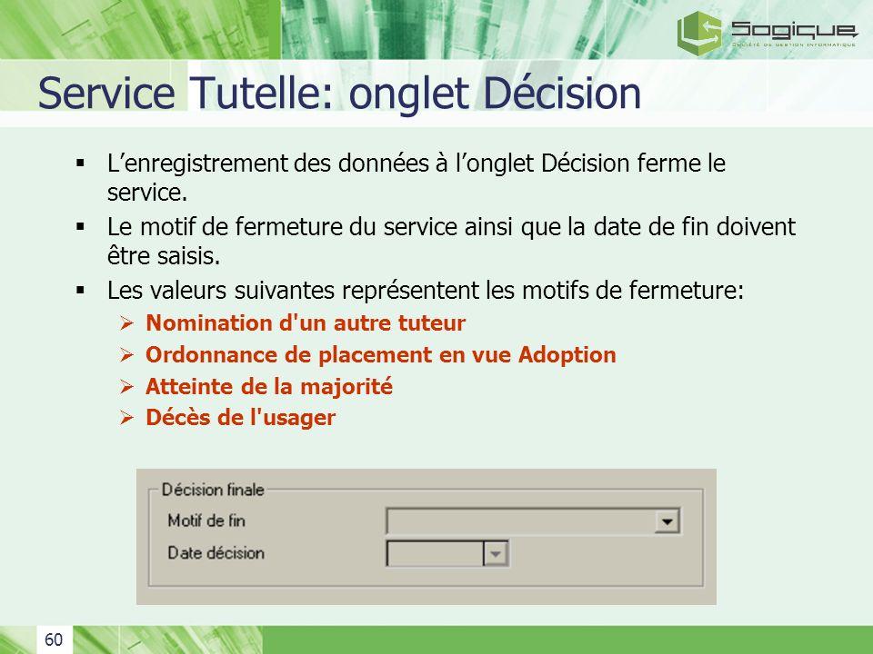 Service Tutelle: onglet Décision