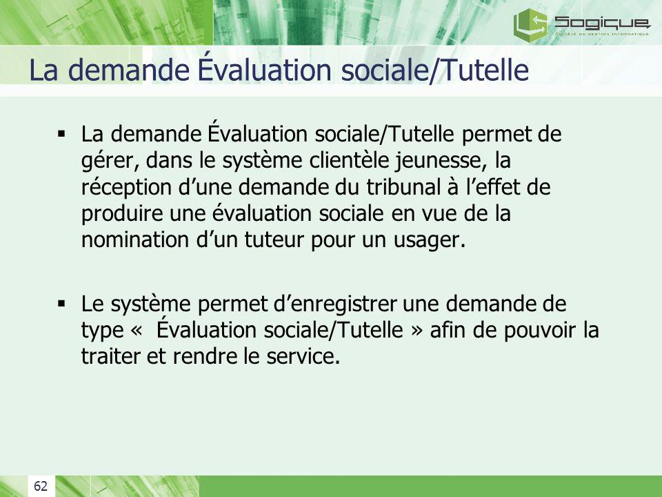 La demande Évaluation sociale/Tutelle