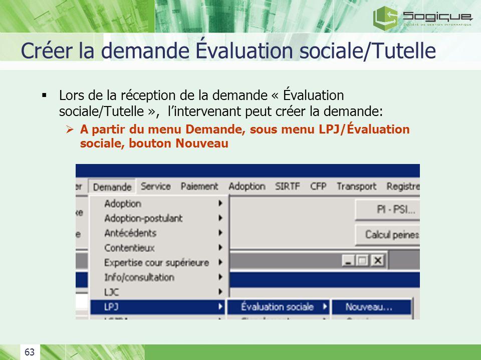 Créer la demande Évaluation sociale/Tutelle