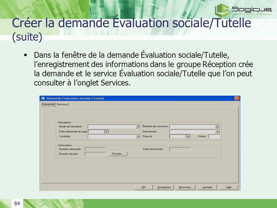 Créer la demande Évaluation sociale/Tutelle (suite)