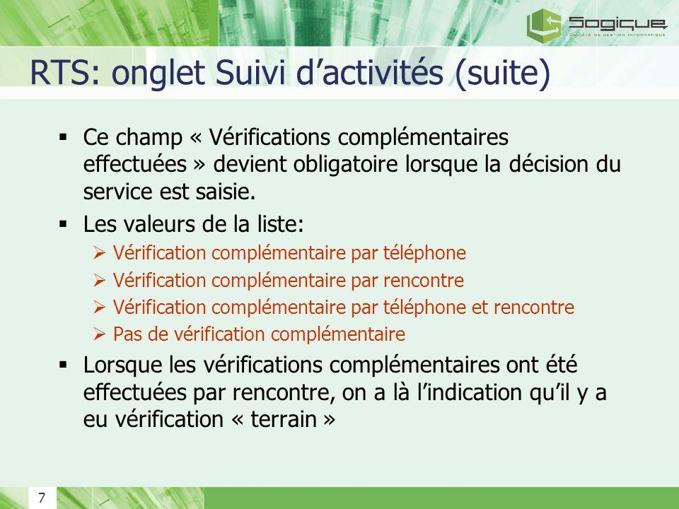 RTS: onglet Suivi d'activités (suite)