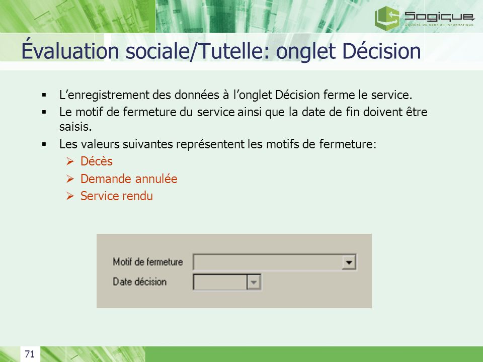 Évaluation sociale/Tutelle: onglet Décision