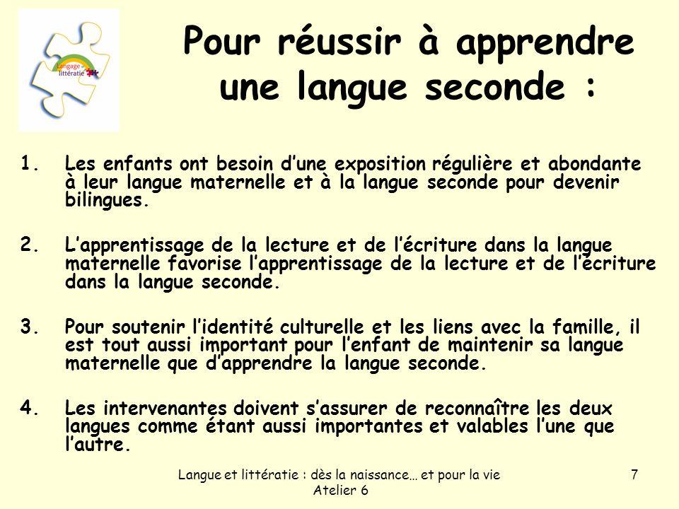 Pour réussir à apprendre une langue seconde :
