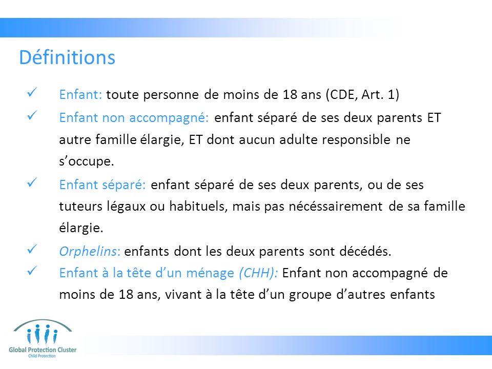 Définitions Enfant: toute personne de moins de 18 ans (CDE, Art. 1)