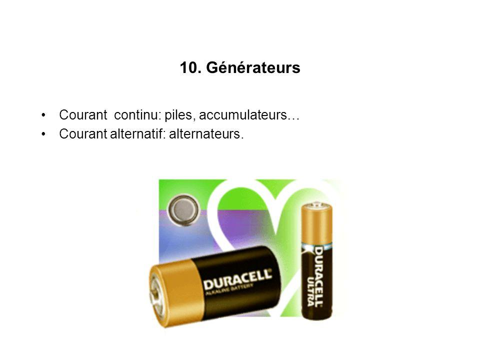 10. Générateurs Courant continu: piles, accumulateurs…