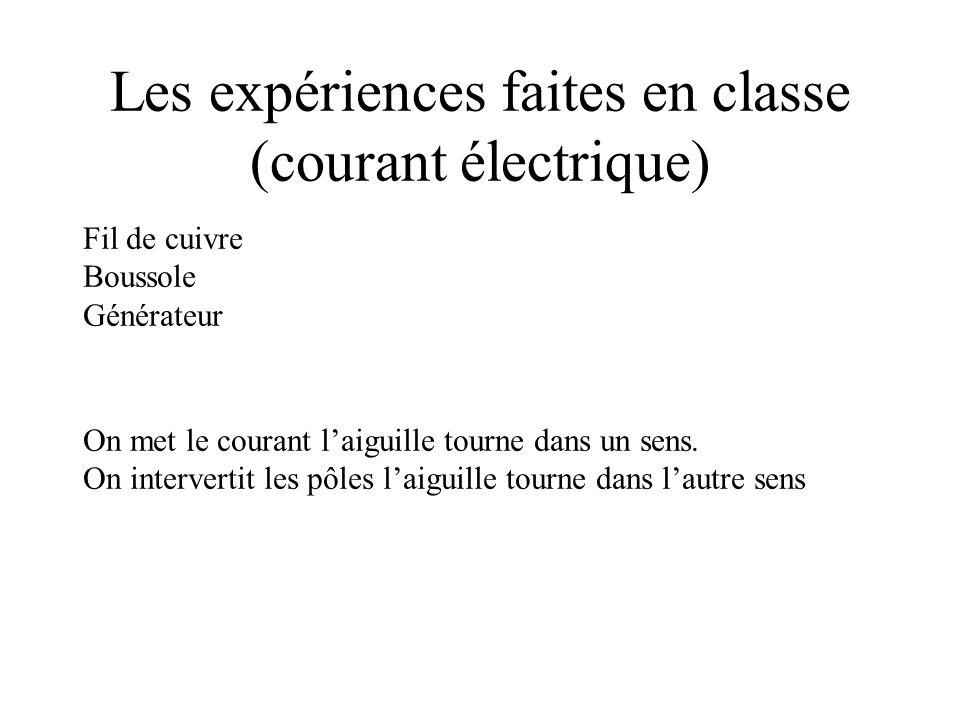 Les expériences faites en classe (courant électrique)