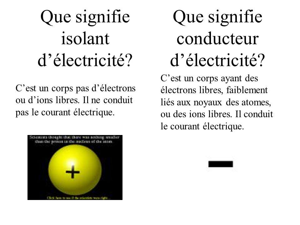 Que signifie isolant d'électricité