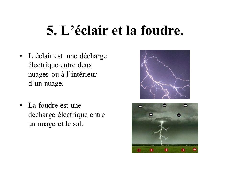 5. L'éclair et la foudre. L'éclair est une décharge électrique entre deux nuages ou à l'intérieur d'un nuage.