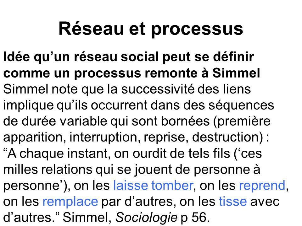 Réseau et processus Idée qu'un réseau social peut se définir comme un processus remonte à Simmel.