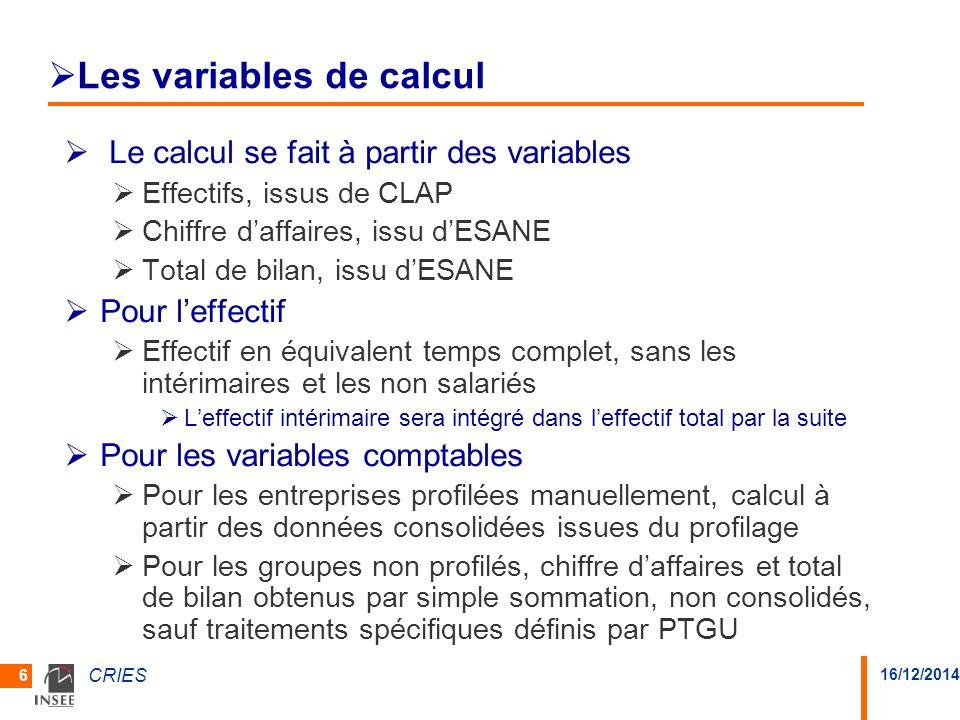 Les variables de calcul