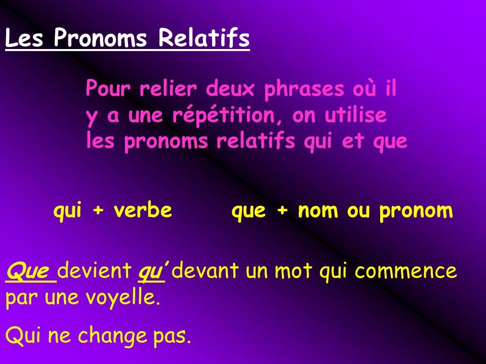 Les Pronoms Relatifs Pour relier deux phrases où il y a une répétition, on utilise les pronoms relatifs qui et que.