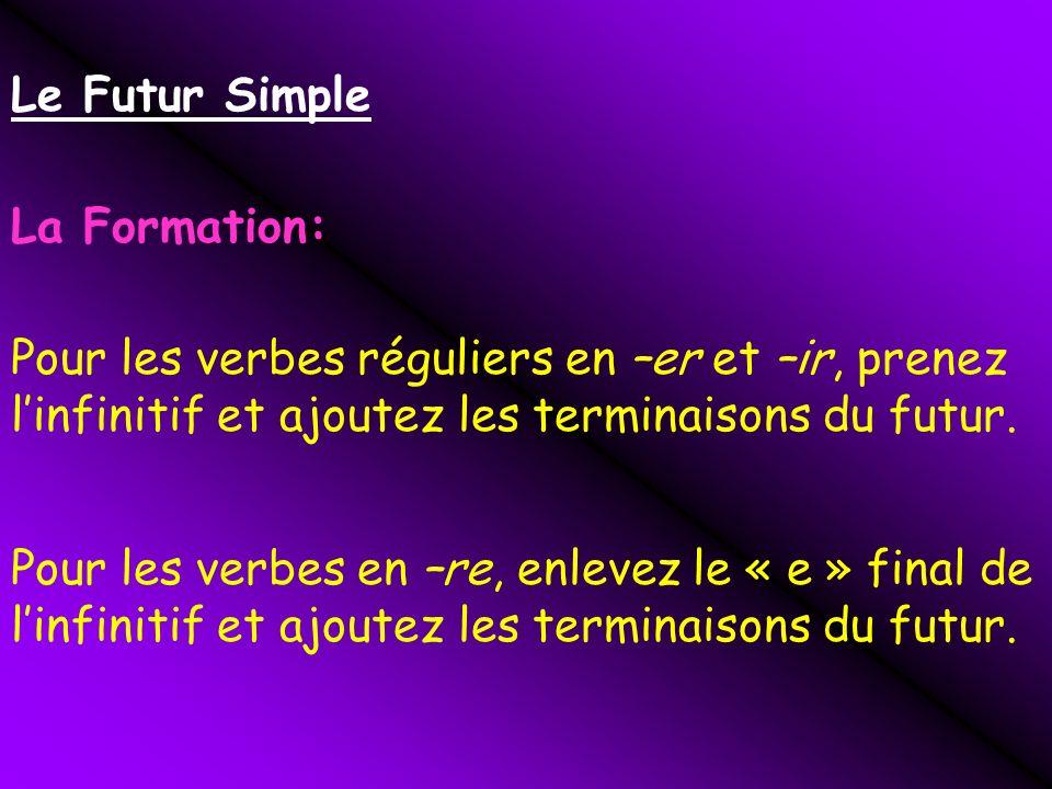 Le Futur Simple La Formation: Pour les verbes réguliers en –er et –ir, prenez l'infinitif et ajoutez les terminaisons du futur.