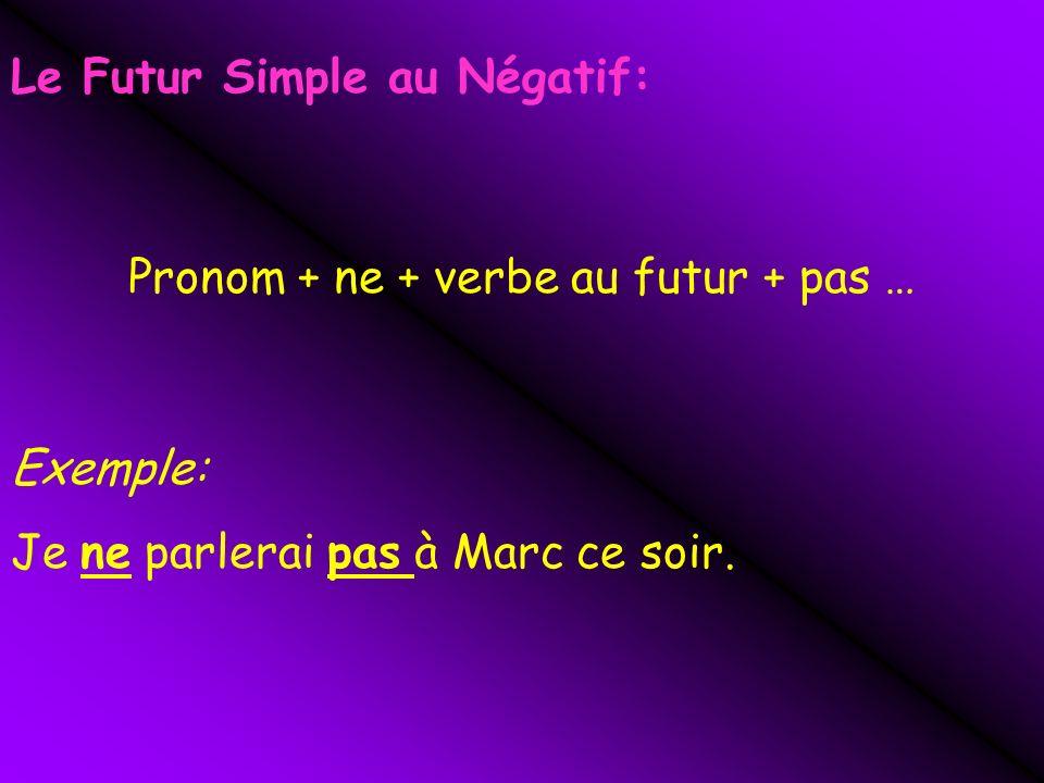 Pronom + ne + verbe au futur + pas …