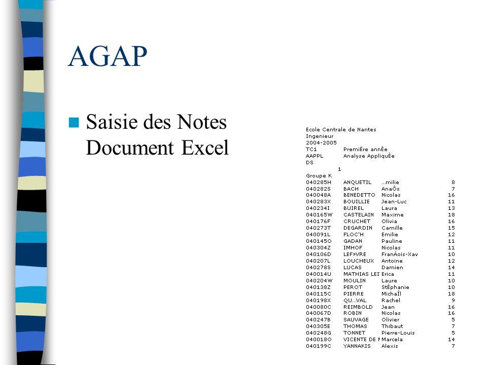 AGAP Saisie des Notes Document Excel
