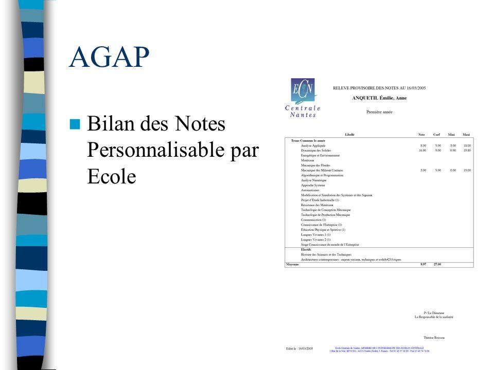 AGAP Bilan des Notes Personnalisable par Ecole