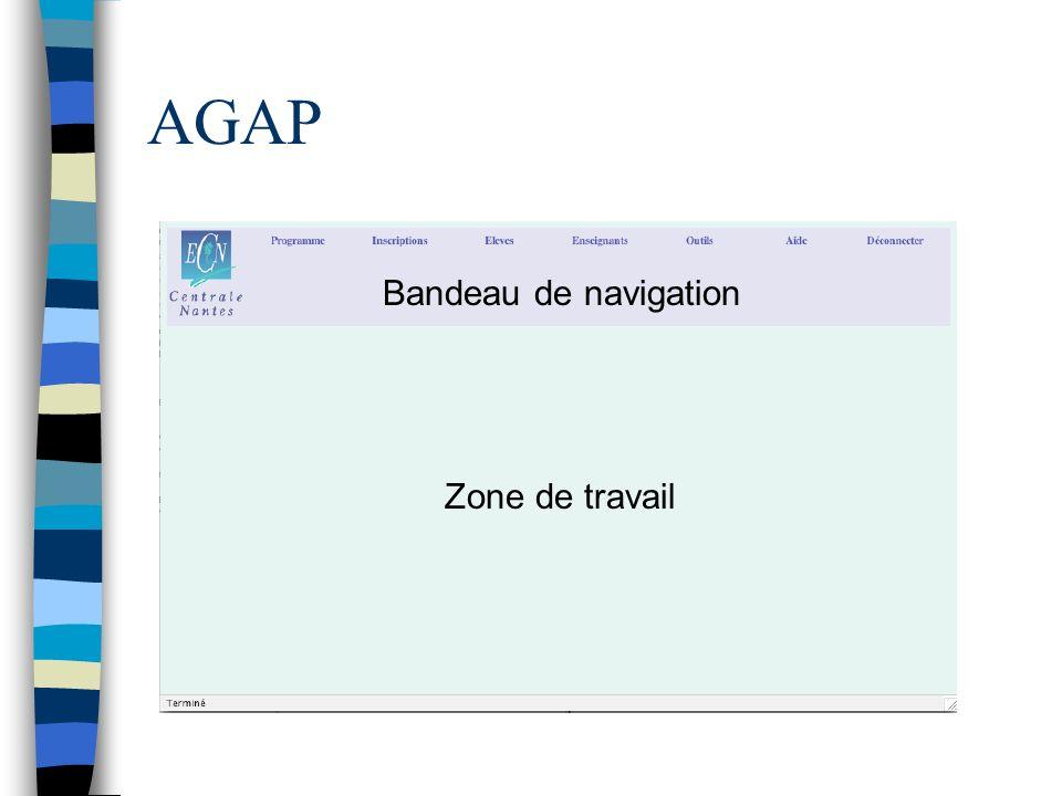 AGAP Bandeau de navigation Zone de travail
