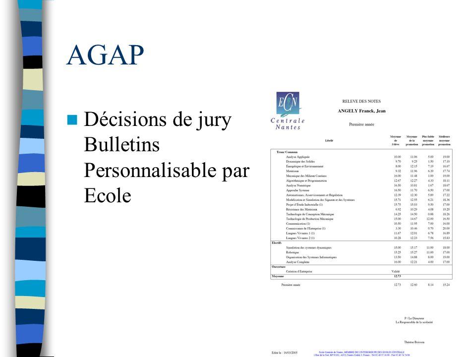 AGAP Décisions de jury Bulletins Personnalisable par Ecole