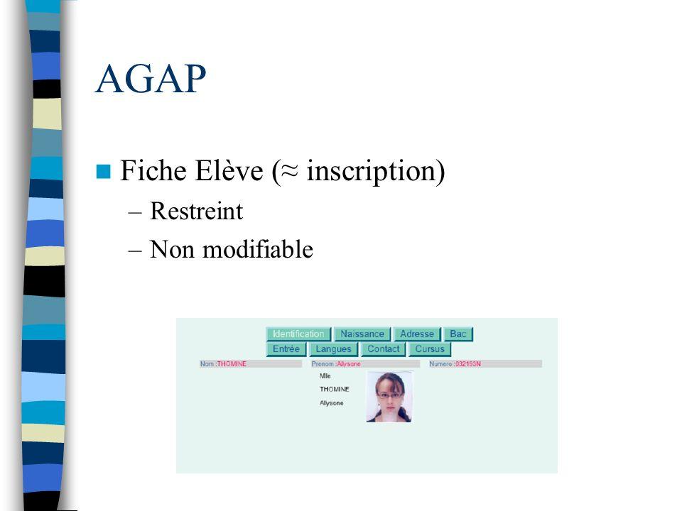 AGAP Fiche Elève (≈ inscription) Restreint Non modifiable