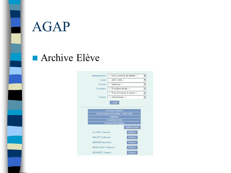 AGAP Archive Elève