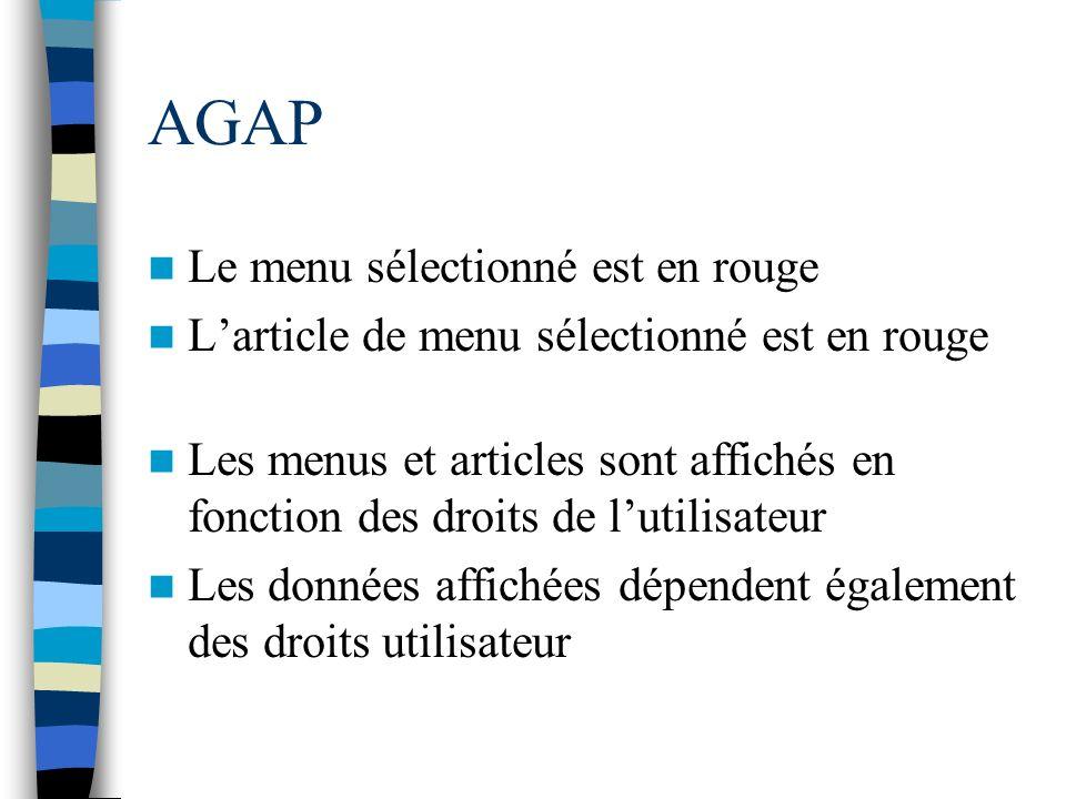 AGAP Le menu sélectionné est en rouge