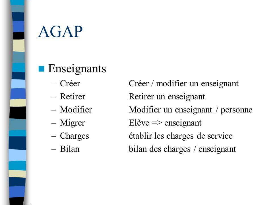 AGAP Enseignants Créer Créer / modifier un enseignant