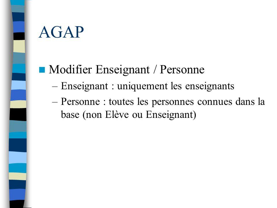 AGAP Modifier Enseignant / Personne