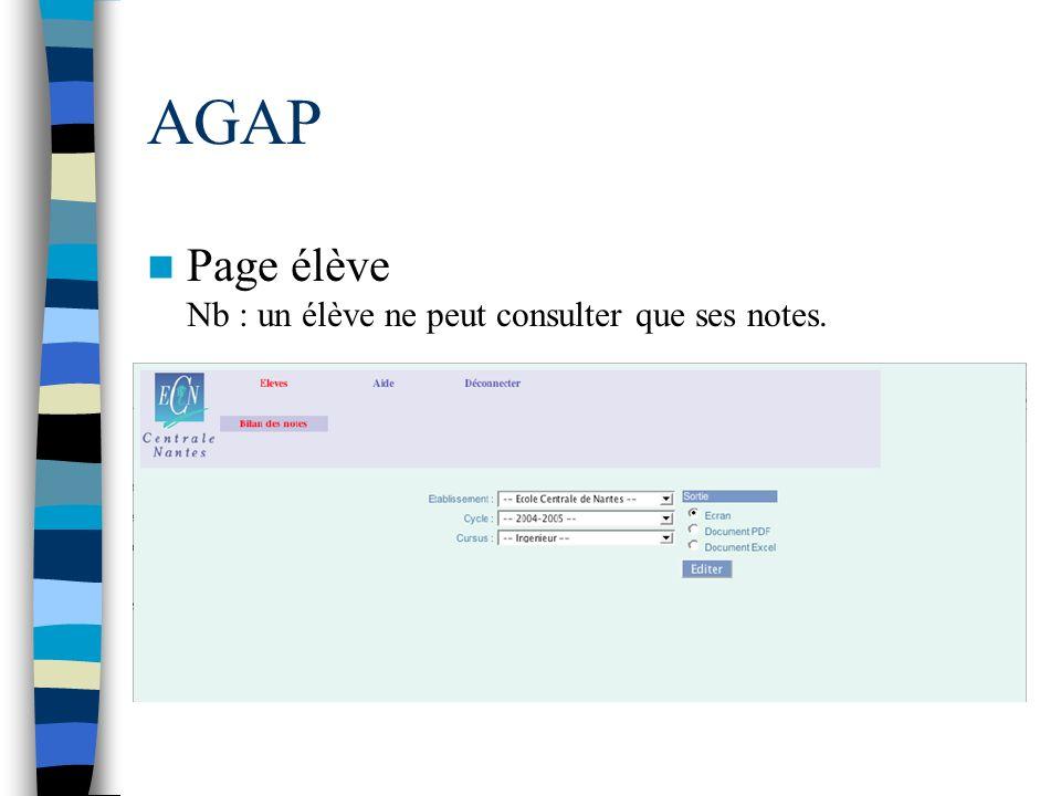 AGAP Page élève Nb : un élève ne peut consulter que ses notes.