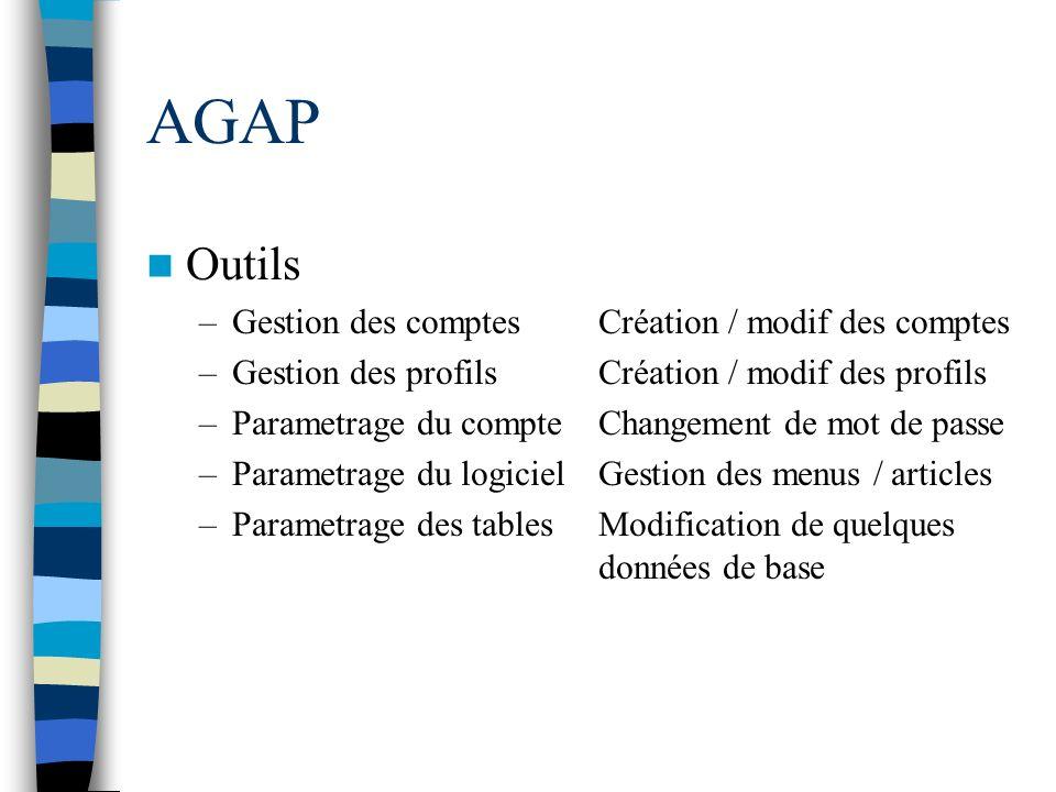 AGAP Outils Gestion des comptes Création / modif des comptes