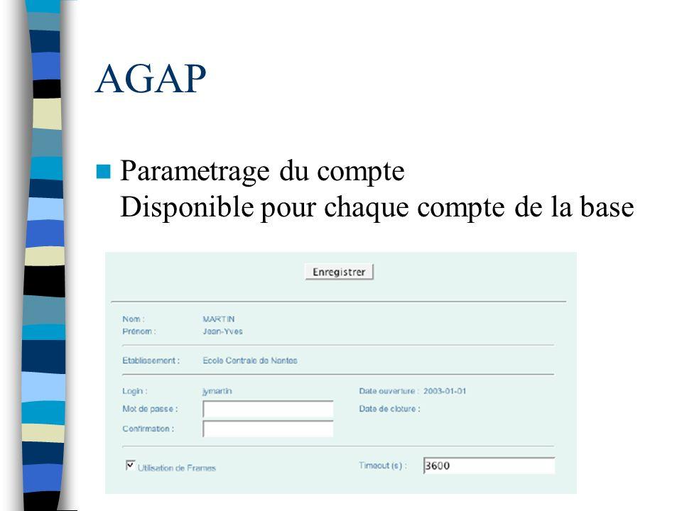 AGAP Parametrage du compte Disponible pour chaque compte de la base
